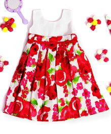 Bunchi Pleated Floral Dress - White & Red