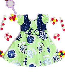 Bunchi Bow Applique Floral Dress - Green