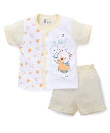 Pink Rabbit Half Sleeves T-shirt And Short Suit Teddy Print - Yellow White