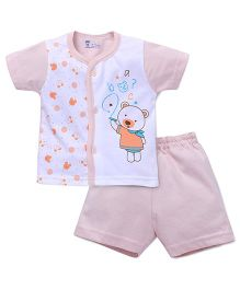 Pink Rabbit Half Sleeves T-shirt And Short Suit Teddy Print - Peach White