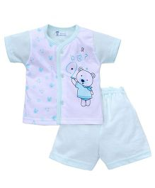 Pink Rabbit Half Sleeves T-shirt And Short Suit Teddy Print - Green White