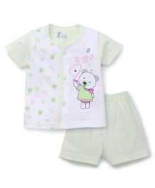 Pink Rabbit Half Sleeves T-shirt And Short Suit Teddy Print - Light Green White