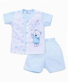 Pink Rabbit Half Sleeves T-shirt And Short Suit Teddy Print - Blue White
