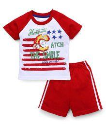 Pink Rabbit Raglan Sleeves T-Shirt And Shorts Printed - Red White