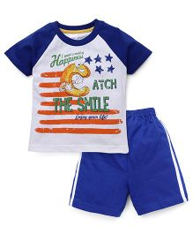 Pink Rabbit Raglan Sleeves T-Shirt And Shorts Printed - Blue White