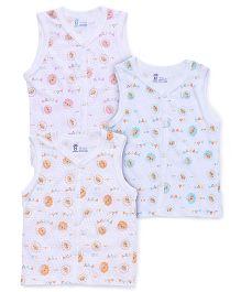 Pink Rabbit Sleeveless Printed Vest Pack Of 3 - Sky Blue Pink Orange