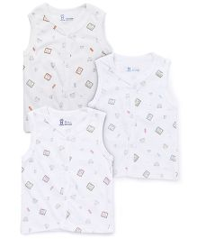 Pink Rabbit Sleeveless Vests Teddy Print Set Of 3 - White