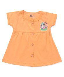 Pink Rabbit Half Sleeves Frock Girl Printed - Orange