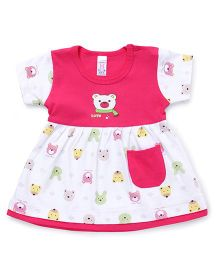 Pink Rabbit Half Sleeves Teddy Print Frock - Pink And White