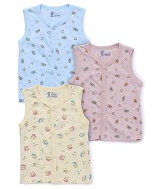 Pink Rabbit Sleeveless Printed Vest Pack Of 3 - Blue Pink Yellow
