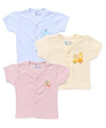 Pink Rabbit Half Sleeves Vest With Print Set Of 3 - Peach Yellow Blue