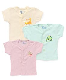 Pink Rabbit Half Sleeves Vest With Print Set Of 3 - Peach Green Yellow