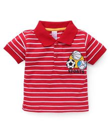Pink Rabbit Half Sleeves Striped Polo Neck T-Shirt - Red