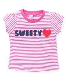 Pink Rabbit Short Sleeves Stripes Top - Pink