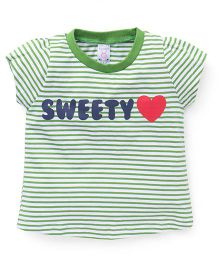 Pink Rabbit Half Sleeves Striped Tee With Sweety Print - Green