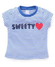 Pink Rabbit Half Sleeves Striped Tee With Sweety Print - Blue