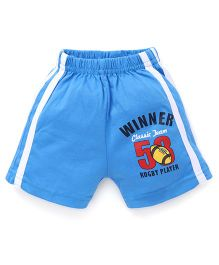 Pink Rabbit Shorts With Side Stripe And Print - Blue