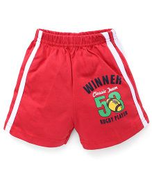 Pink Rabbit Shorts With Side Stripe And Print - Red