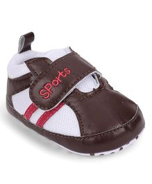 Cute Walk by Babyhug Shoe Style Booties - Dark Brown & White