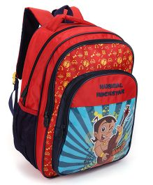 Chhota Bheem School Bag  Musical Rock Star Print  Red And Navy - 12 Inch