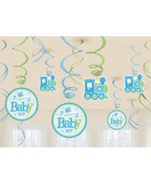 Bling It On Welcome Baby Boy Swirl Decorations - Blue