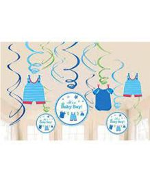 Bling It On Shower With Love Boy Baby Swirls - Blue