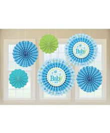 Bling It On Welcome Paper Fans - Blue And Green