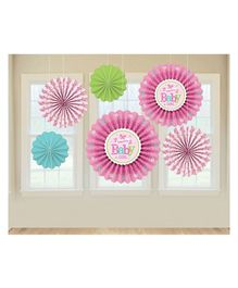 Bling It On Welcome Baby Paper Fans - Pink Green Blue
