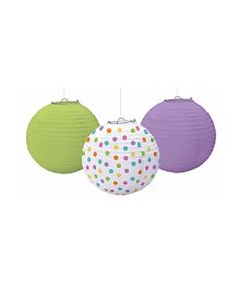 Bling It On Paper Lanterns Plain And Polka Dots - Green white Purple