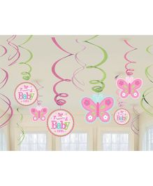 Bling It On Welcome Baby Girl Swirl Decorations - Pink