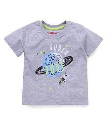 Babyhug Half Sleeves T-Shirt Super Dude Print - Grey