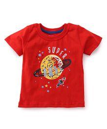 Babyhug Half Sleeves T-Shirt Super Dude Print - Red