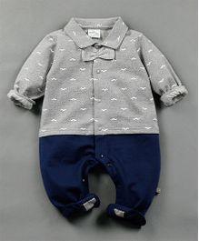 Petite Kids Bow Style Romper Suit - Navy Blue