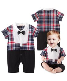 Petite Kids Baby Boy Checked Bow Style Romper Suit - Black