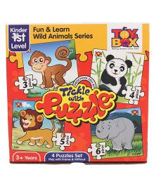 Toys Box Tickle With Puzzle Fun & Learn Wild Animal Series - Multicolor