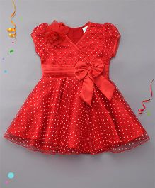 Babyhug Short Sleeves Frock Floral & Bow Applique - Red