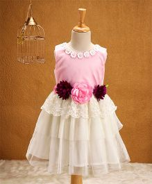 Babyhug Sleeveless Party Wear Frock Floral Appliques - Pink White