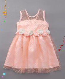 Babyhug Sleeveless Frock Floral Applique - Peach