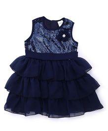 Babyhug Sleeveless Party Wear Frock Sequin & Floral Applique - Navy