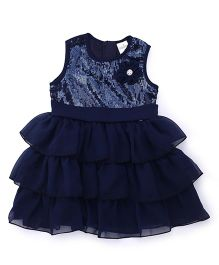 Babyhug Sleeveless Party Wear Frock Sequin & Floral Applique - Navy