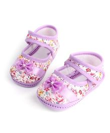 Wow Kiddos Bow Applique Flower Printed Shoes For First Walkers - Purple