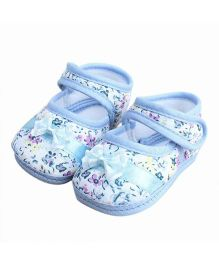 Wow Kiddos Bow Applique Flower Printed Shoes For First Walkers - Blue
