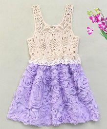 Adores Pretty Rose Crochet Dress - Purple