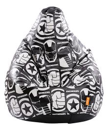 Orka Dark Avengers Digital Printed Bean Bag Black White - XL