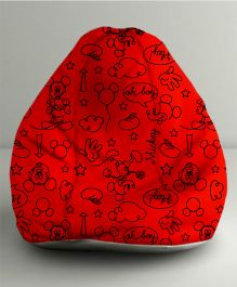 Orka Disney Mickey Mouse Digital Printed Bean Bag Small Filled With Beans - Red & Black