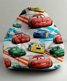 Orka Disney Pixar Cars Digital Printed Bean Bag White And Multi Color - Small