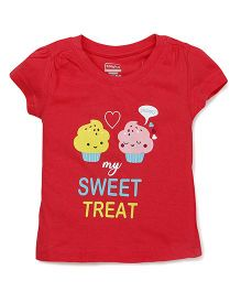 Babyhug Half Sleeves Tee With Cupcake Print - Red