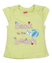 Babyhug Cap Sleeves Top Beach Print - Lemon Green