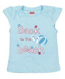 Babyhug Cap Sleeves Top Beach Print - Sky Blue