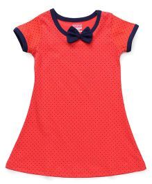 Babyhug Short Sleeves Nighty Dots Print - Coral